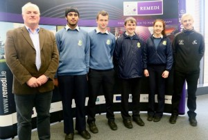 Prof. Frank Barry, coordinator ADIPOA-2, pictured with the winning students and their teacher.